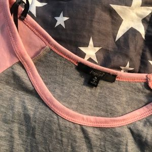 Papaya Tops - Pink Grey 3/4 Sleeve Shirt Top